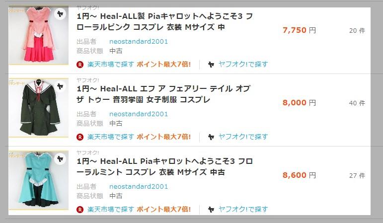 中古のヒールオール製衣装のヤフオク!における落札価格