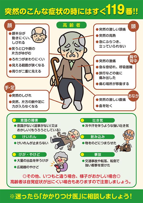 消防庁発行「救急車利用リーフレット」(高齢者版)
