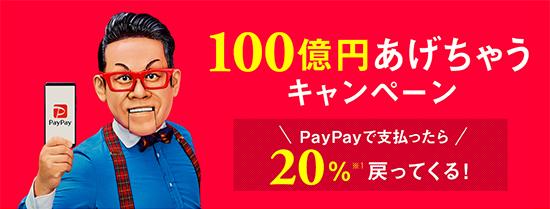 paypayにおける100億円キャンペーン第一弾のキャンペーンバナー