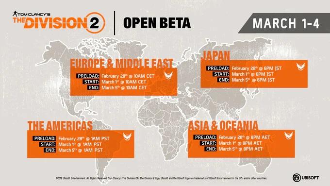 DIVISION2オープンベータの開催日時