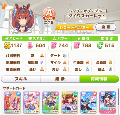 一発勝負の★2ダイワスカーレット配布サポカ育成結果(ウマ娘)
